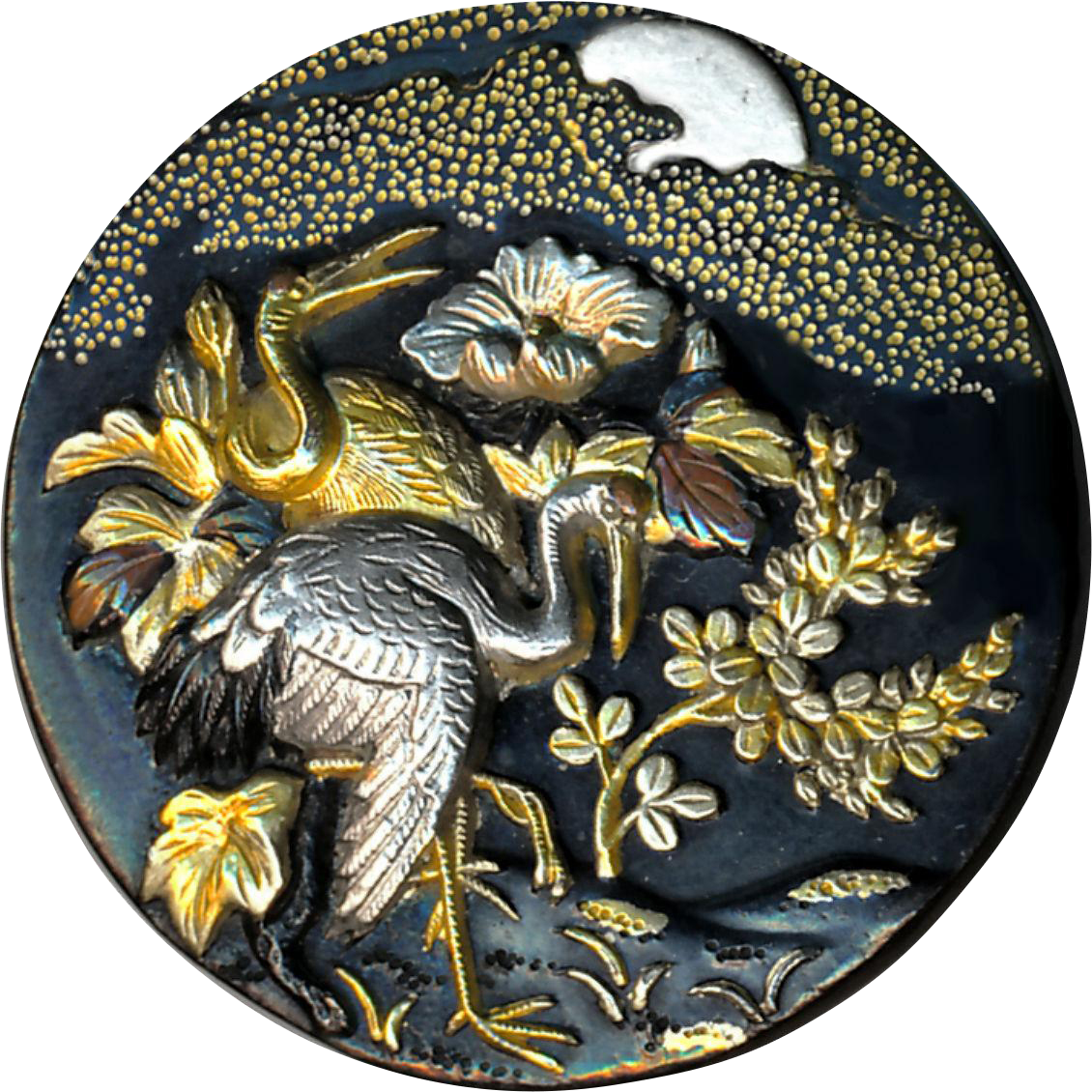 Button--Fine 19th C. Japanese Shakudo Cranes in Moonlight--Medium Large