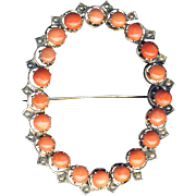 Brooch--Large Mid-19th C. Sterling Silver, Coral, and Seed Pearls--Modern Pin Stem
