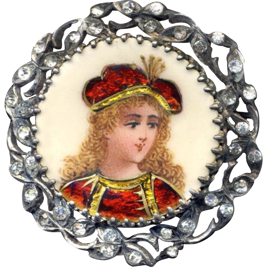 Brooch--19th C. French Limoges Enamel Renaissance Boy in Sterling Silver with Glass Stones