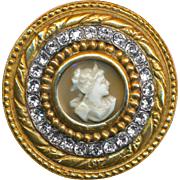 Button--Fine Very Large 19th C. Jeweled Gold-topped Silver Shell Cameo Head