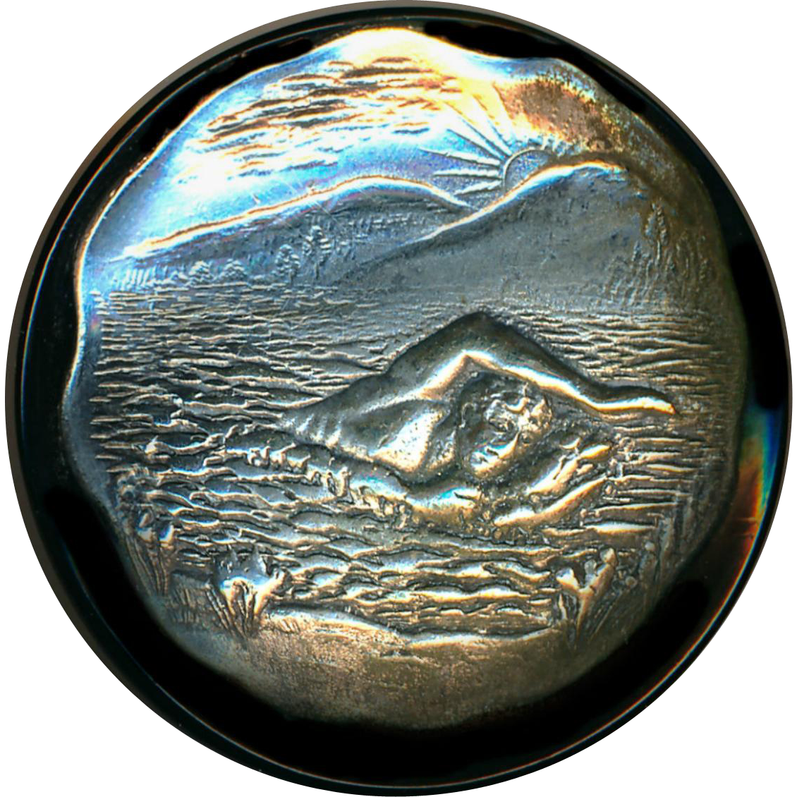 Button ~ Scarce 1930s Large Black Celluloid & Silvered Brass Hawaiian Champion Swimmer