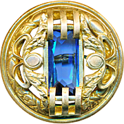 Button--Large Gay Nineties Water Blue Glass Jewel in Secessionist Design Brass