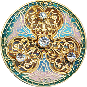 Button--Late 19th C. Large Open Filigree Jeweled Champleve Enamel