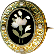 Brooch ~ Large 19th C. Pietra Dura Etheral Translucent White Carnation & Pearls in Elegant 14 Kt Gold