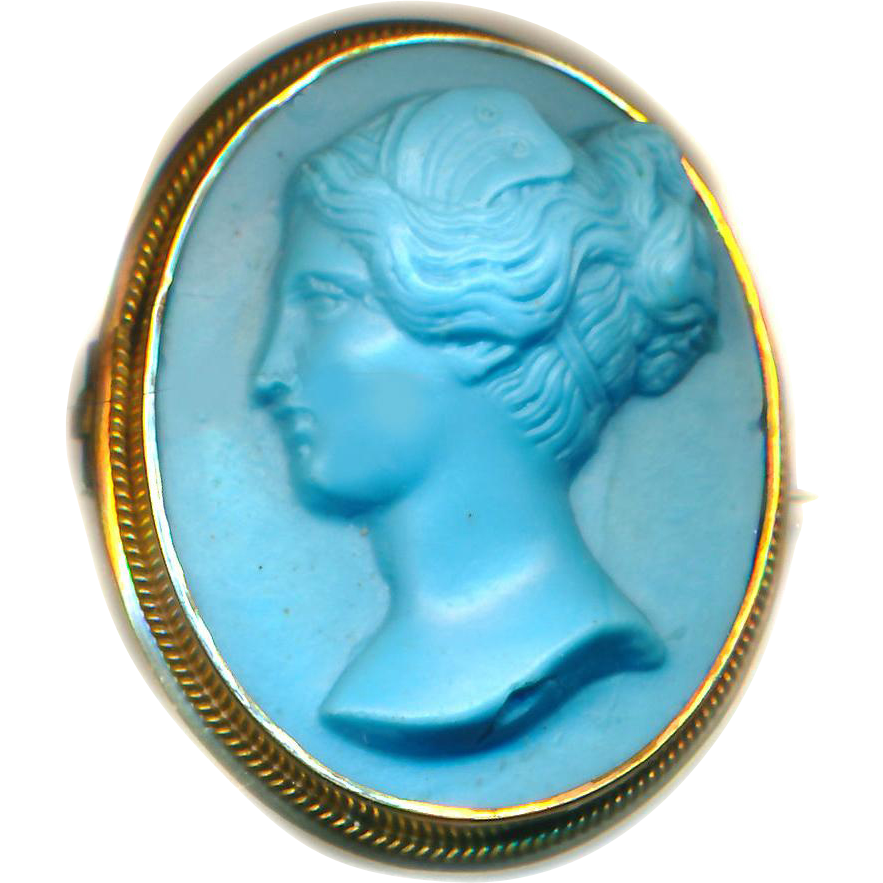 Brooch--Mid-19th C. Striking Satin Finish Turquoise Glass Cameo Fairy Nymph in Gold-plated Brass