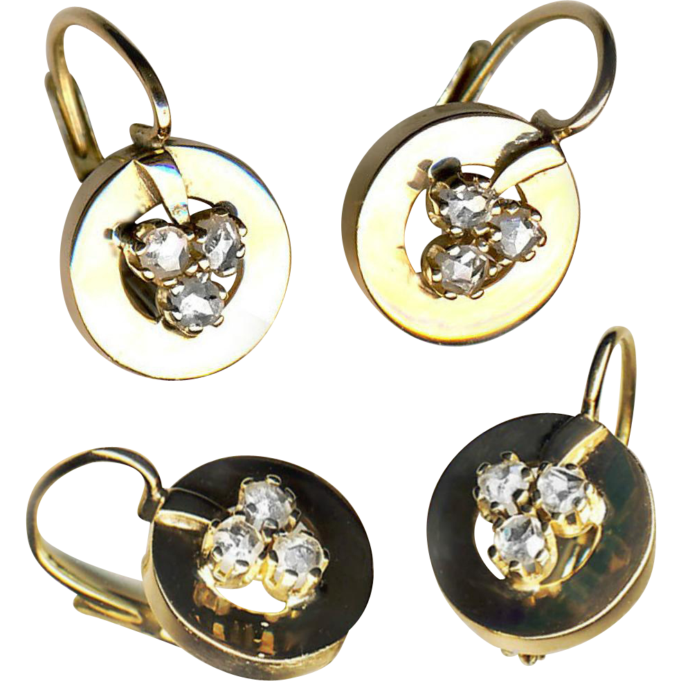 Earrings--Bright White Rose Cut Diamonds in 14k Gold Shamrocks or Covers--Late 19th C. with Modern Backs