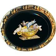 Brooch ~ Large Mid-19th C. Fine Micromosaic Doves of Pliny at Fountain in 14 Karat Gold