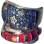 2 Rings--Set of Patriotic Stars & Stripes Rubies, Sapphires, Diamonds in White Gold--Size 8