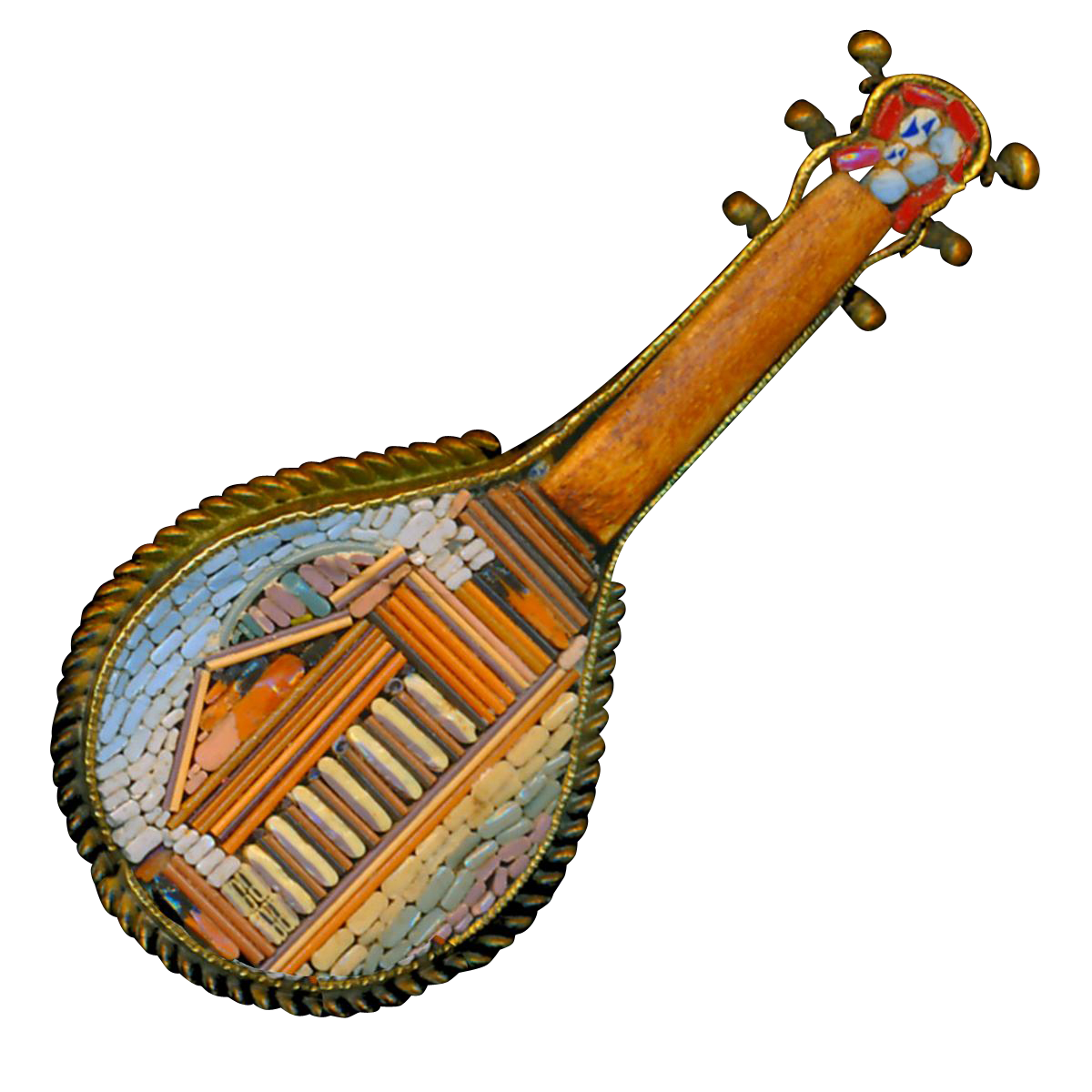 Brooch--Fine Late 19th C. Micro Mosaic Micromosaic Roman Pantheon on Mandolin with Wood in Brass