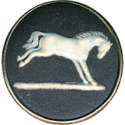 Button--Medium 19th C. Wedgwood Jasperware White Horse on Black Jasper