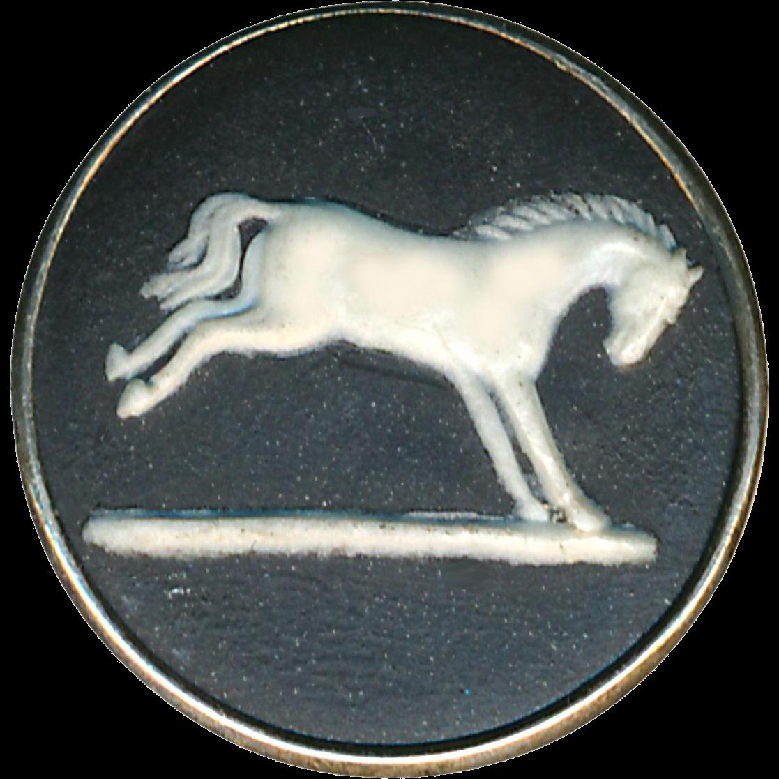 Button--Medium 19th C. Wedgwood Jasperware White Horse on Black Jasper