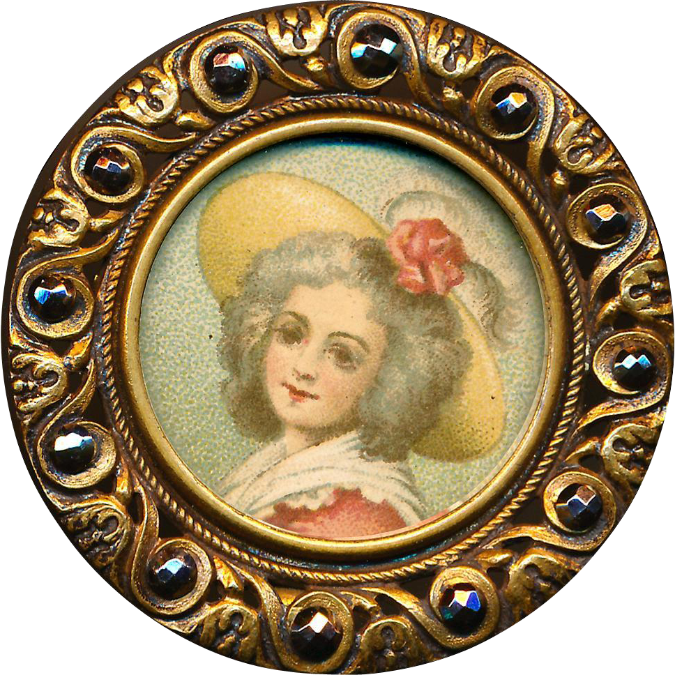 Button - Very Large Early 20th C. Chromolithograph Lady in Bonnet Under Glass in Brass with Cut Steels