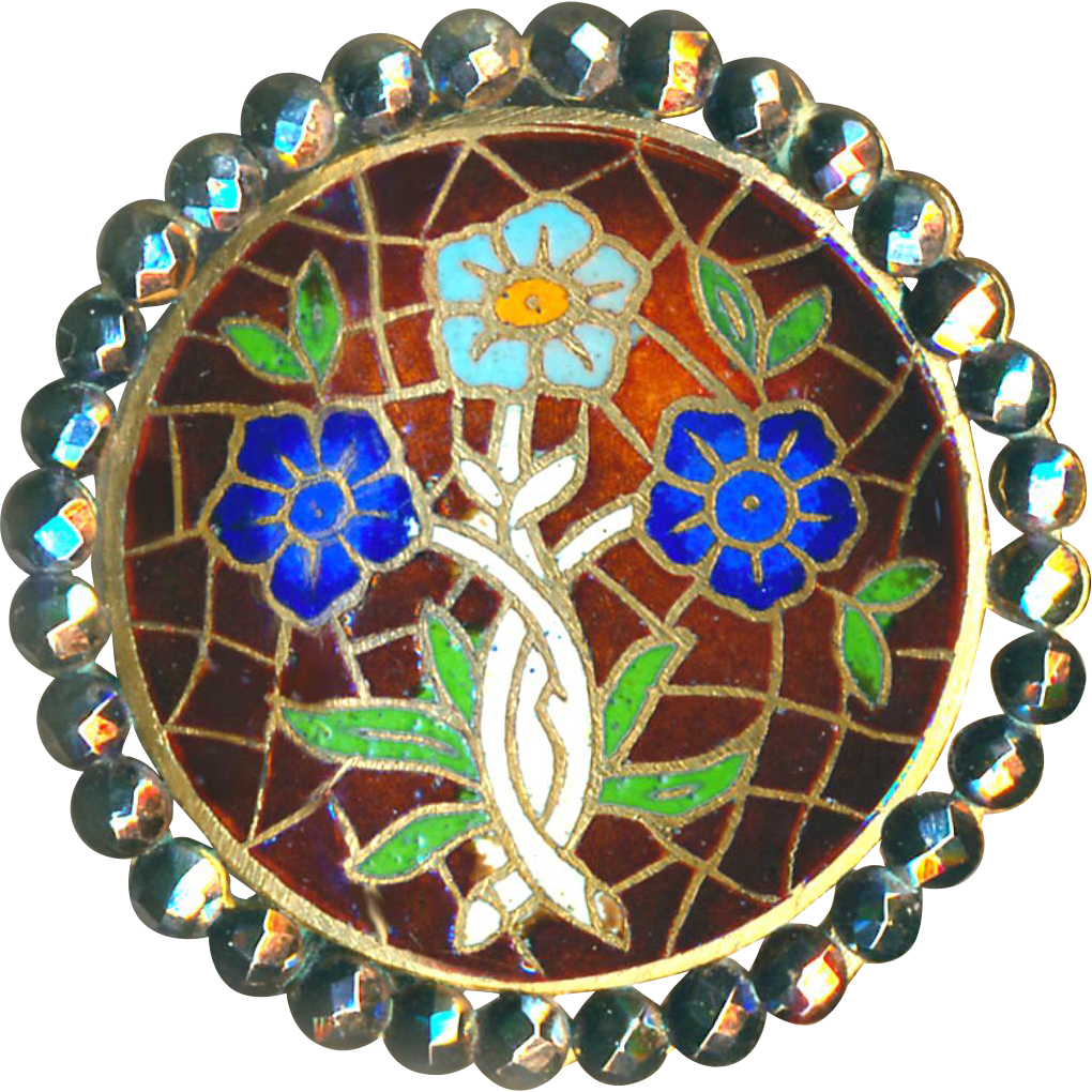 Button ~ Very Large Late 19th C. Stained Glass-like Neo-Renaissance Champleve Enamel Triad