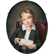 Brooch--Late 19th C. Fine Quality Hand Painted Porcelain Studious Young Man