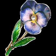 Brooch ~ Early 20th C. Krementz Fine Enamel Pearl Pansy Flower & Stem on Gold