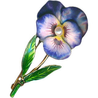 Brooch ~ Early 20th C. Krementz Fine Enamel Pearl Pansy Flower & Stem on Gold