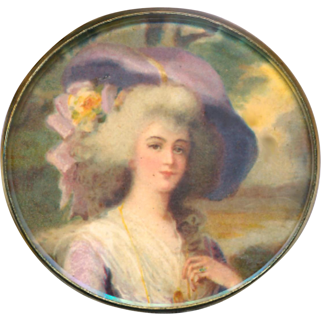 Button--Very Large Fine Chromolithograph Georgian Lady in Lavender Under Glass