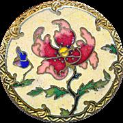 Button--Large Champleve Enamel Windblown Flower Late 19th C. Art Nouveau