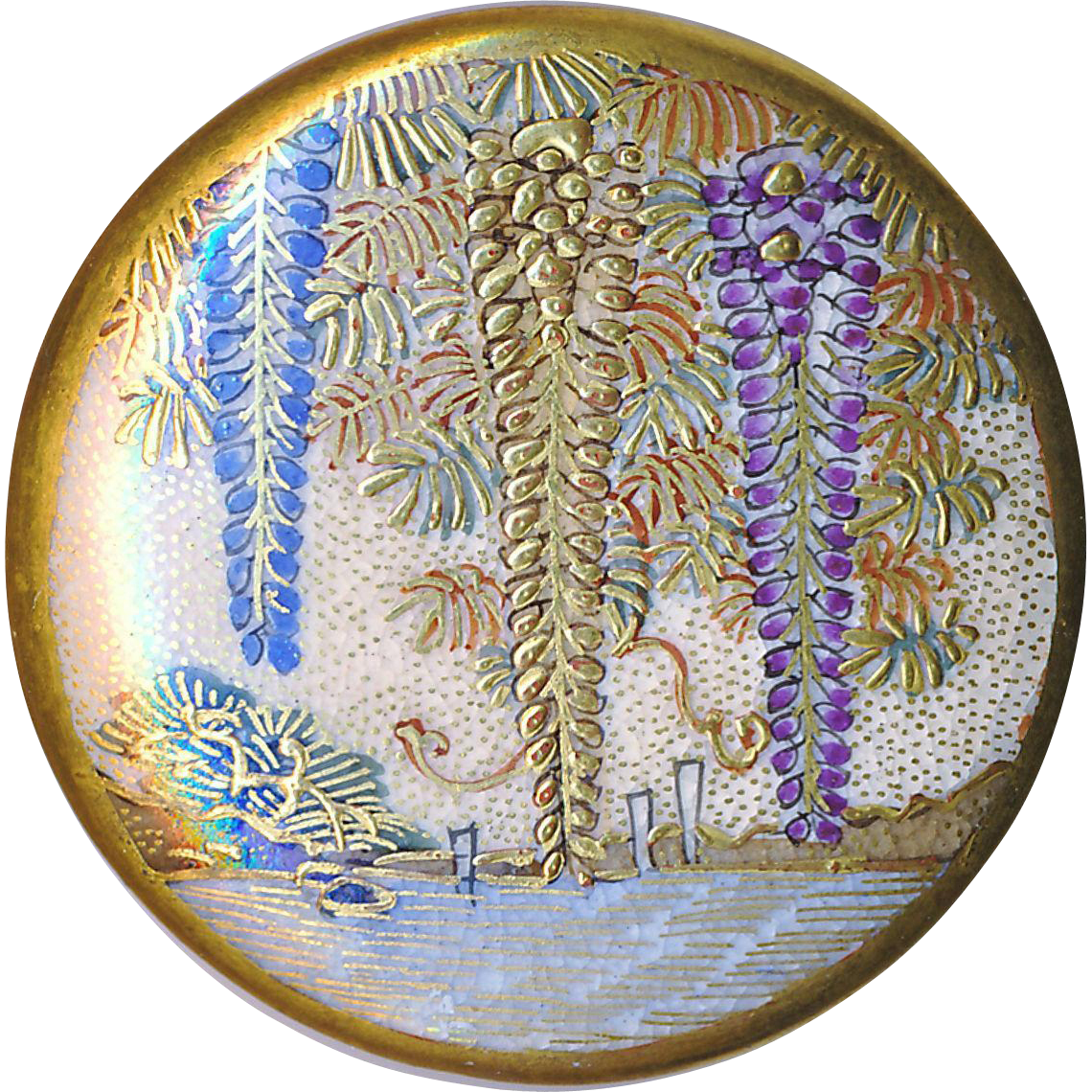 Button--Large Fine Late 19th C. Satsuma Pottery 3 Wisteria Lake Scene