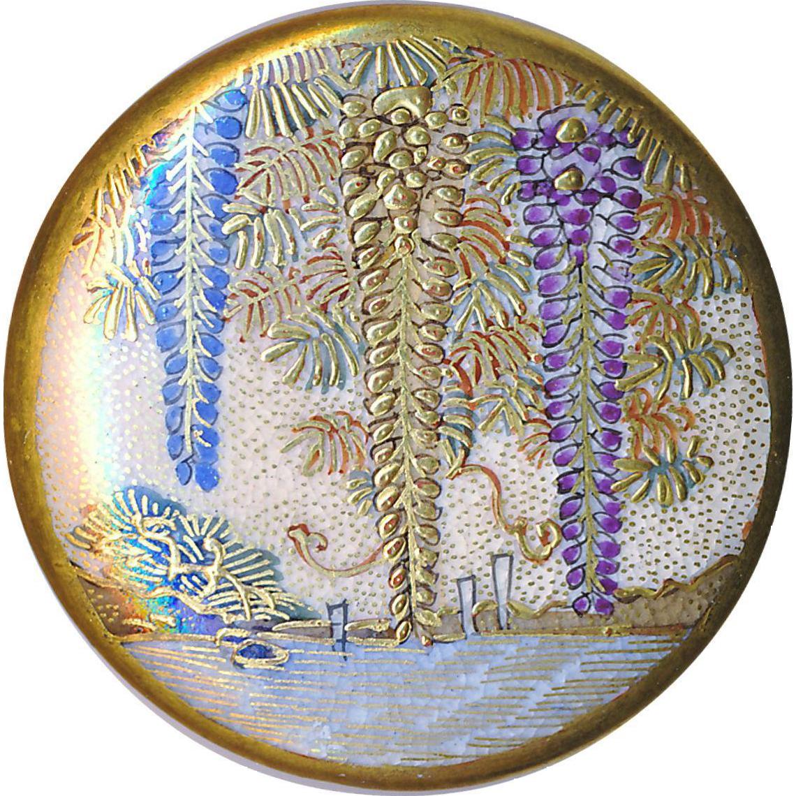 Button--Large Fine Late 19th C. Satsuma Pottery 3 Wisteria Lake Scene