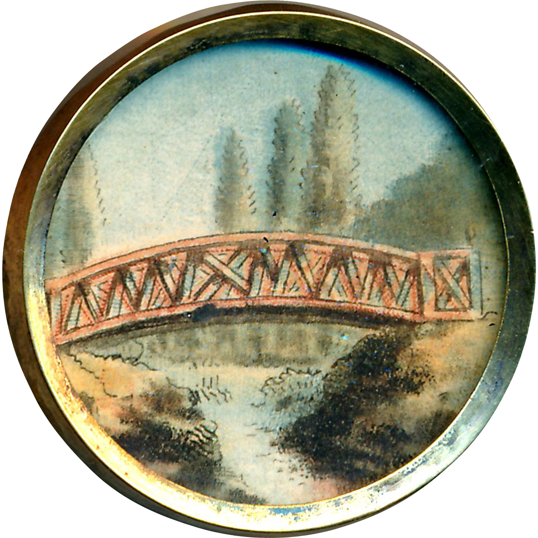 Button--18th C. Georgian Watercolor Painting of Wooden Bridge Inder Glass in Brass--Architecture