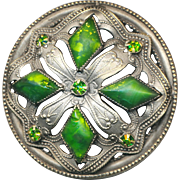 Button--Extra Large Late 19th C. Gay Nineties Quatreform Art Glass Jewels Faux Peridot in Silvered Brass