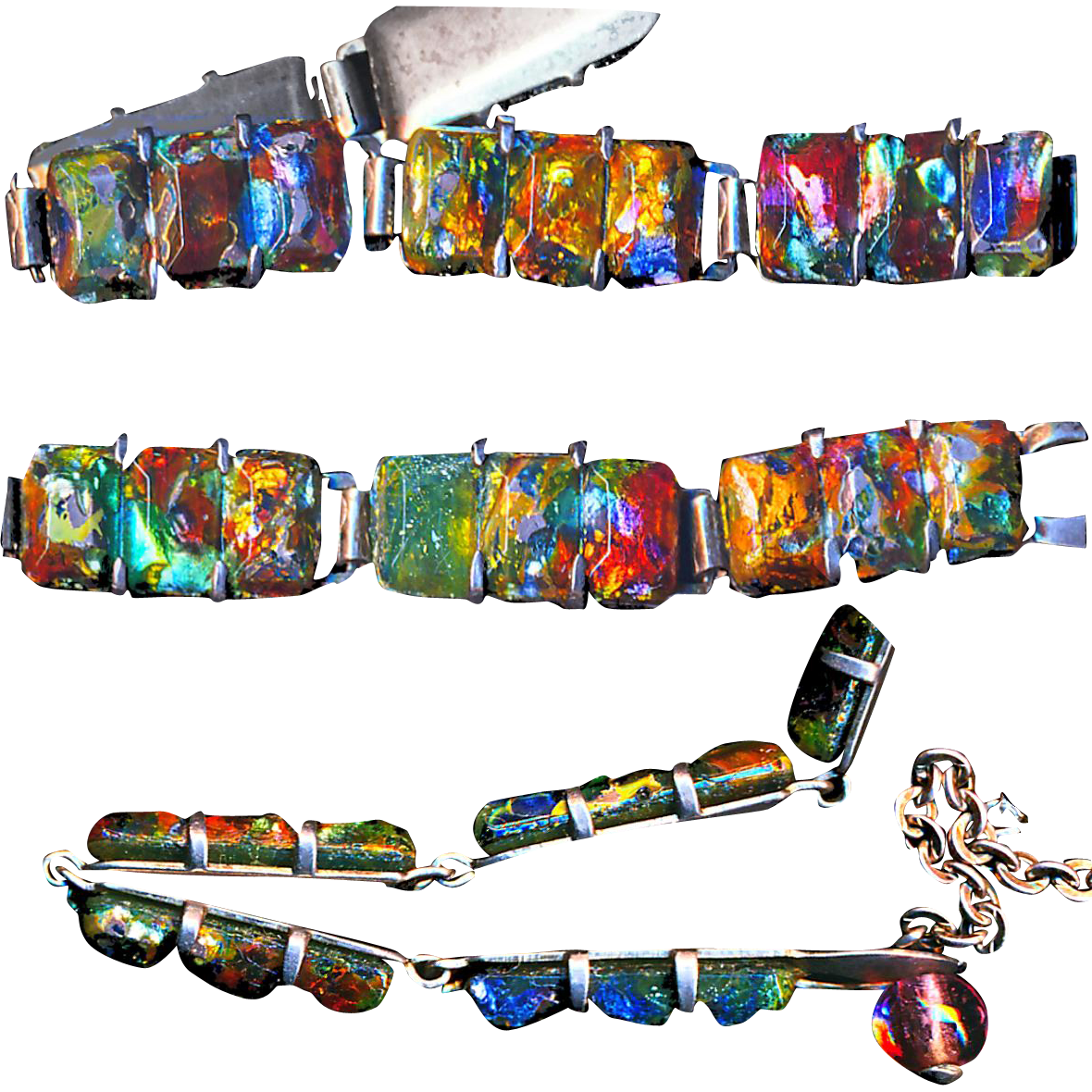 Early 20th C. Foil Art Glass Jewels in Sterling Silver Line Bracelet--Adjustable