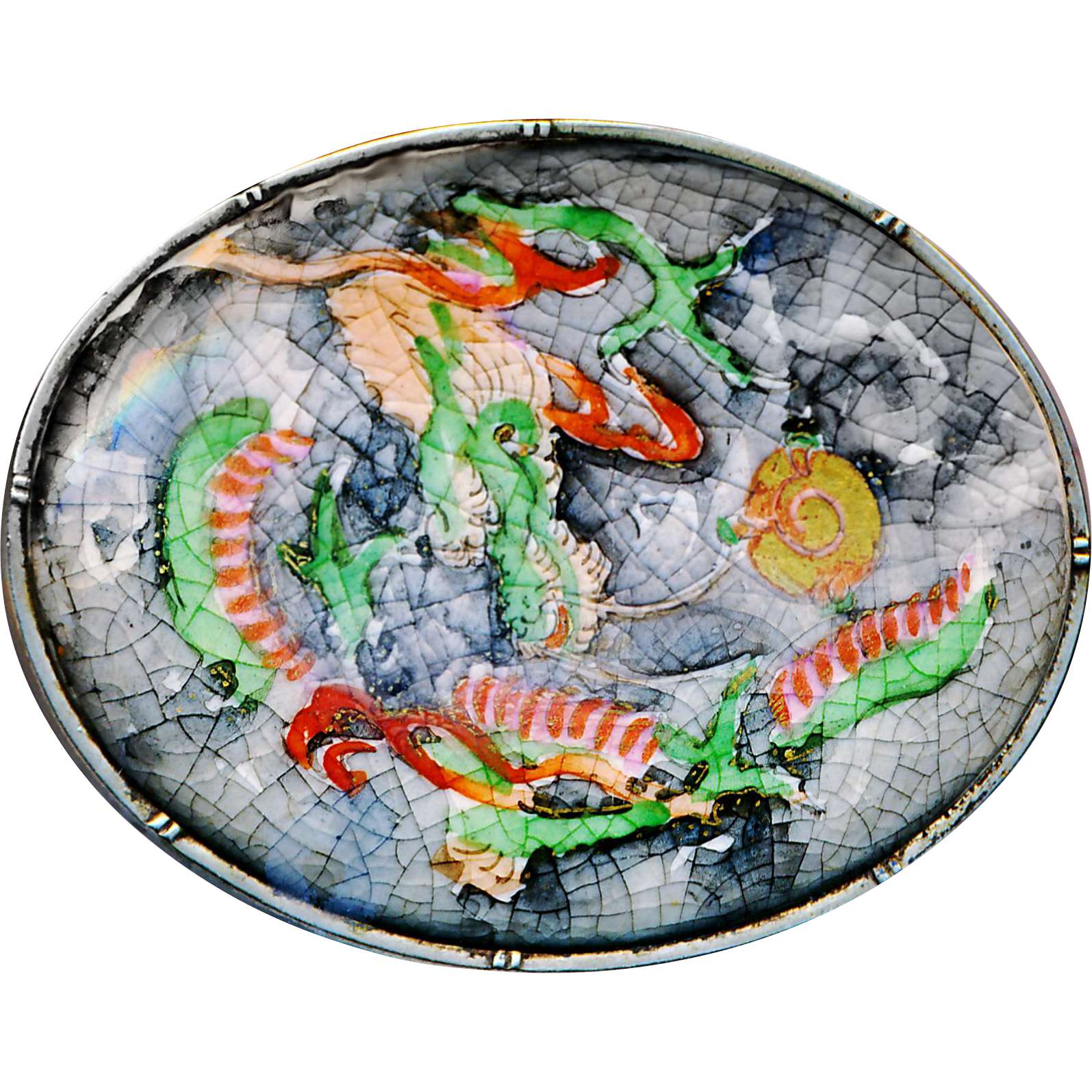Brooch--Large 19th C. Satsuma Pottery Hidden Dragon in Sterling Silver