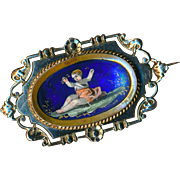 Brooch--19th C. Limoges Enamel Child in 0.800 Silver and Brass