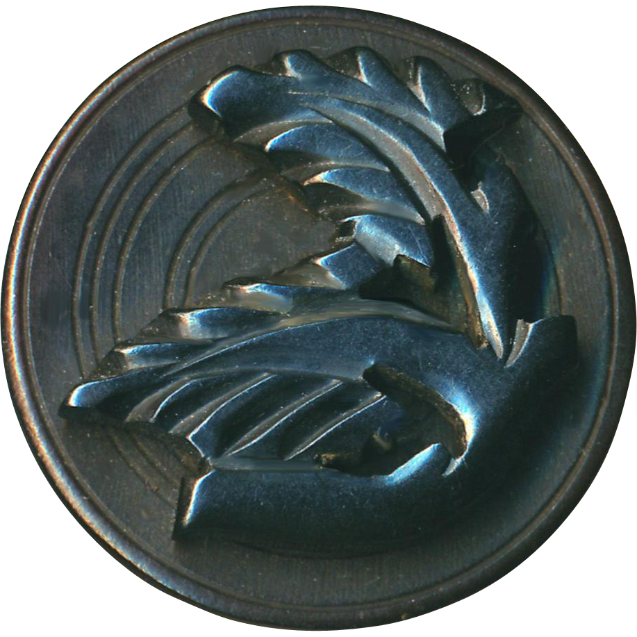 Button--Very Large Uncommon Compound Gutta Percha & Bois Durci Foliate Branch