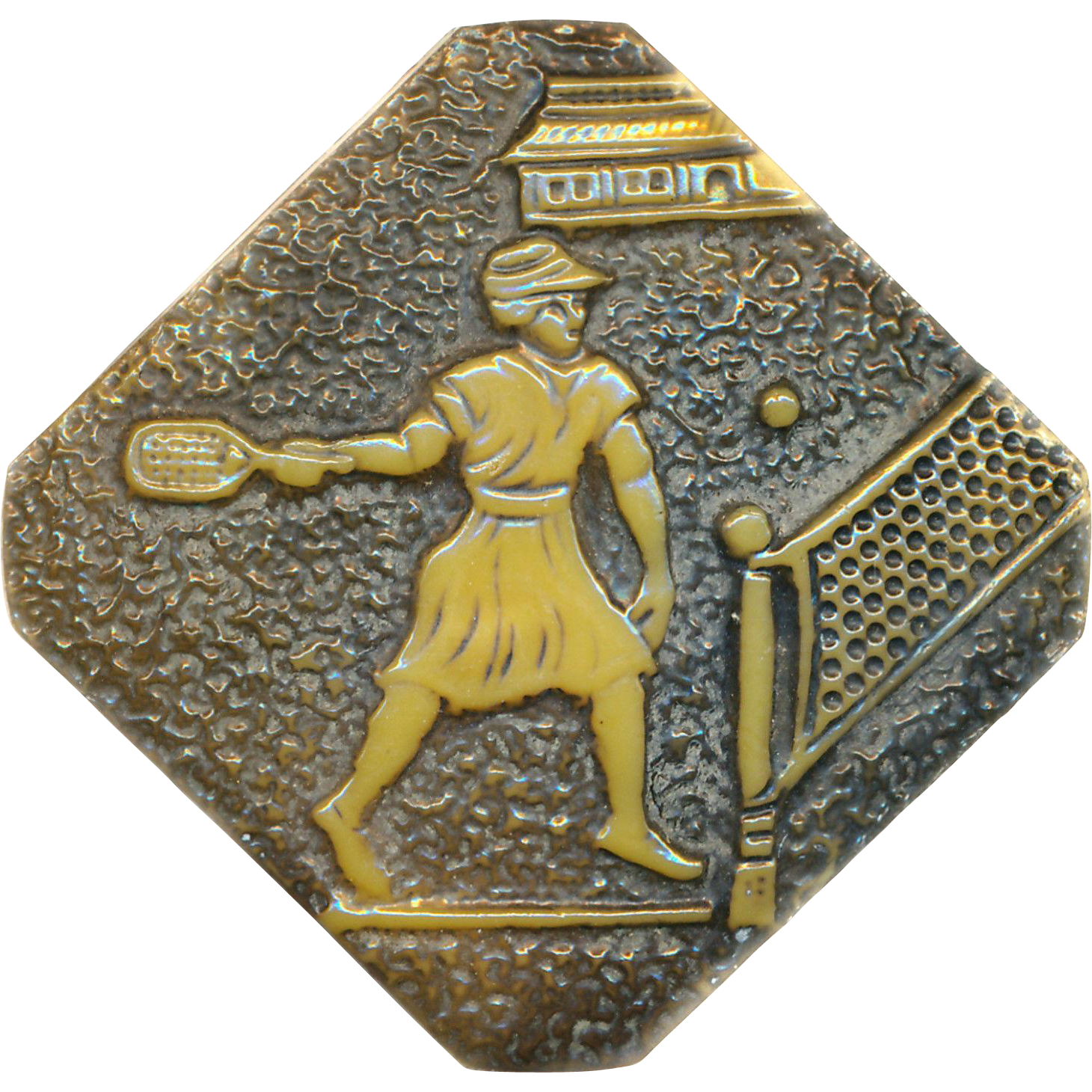Button--Large Octagonal Ivoroid 1-Piece '30s Celluloid Lady Tennis Player