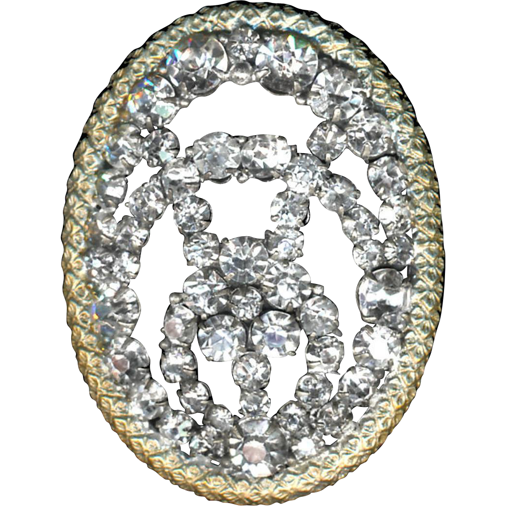 Button--Large Late 19th C. Hand-set Rhinestone Oval & Odd Open Design