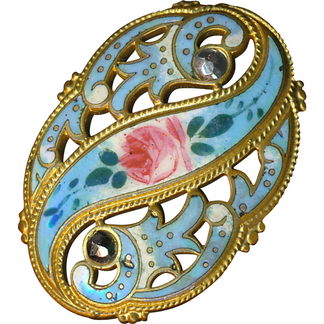 Button--Large Late 19th C. Openwork Brass with Sky Blue Enamel Rose Reserve and Cut Steels
