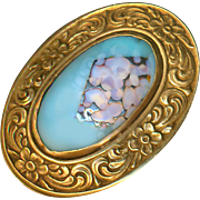 Button--Large Late 19th C. Satin Marvered Glass Jewel in Floral Brass Border