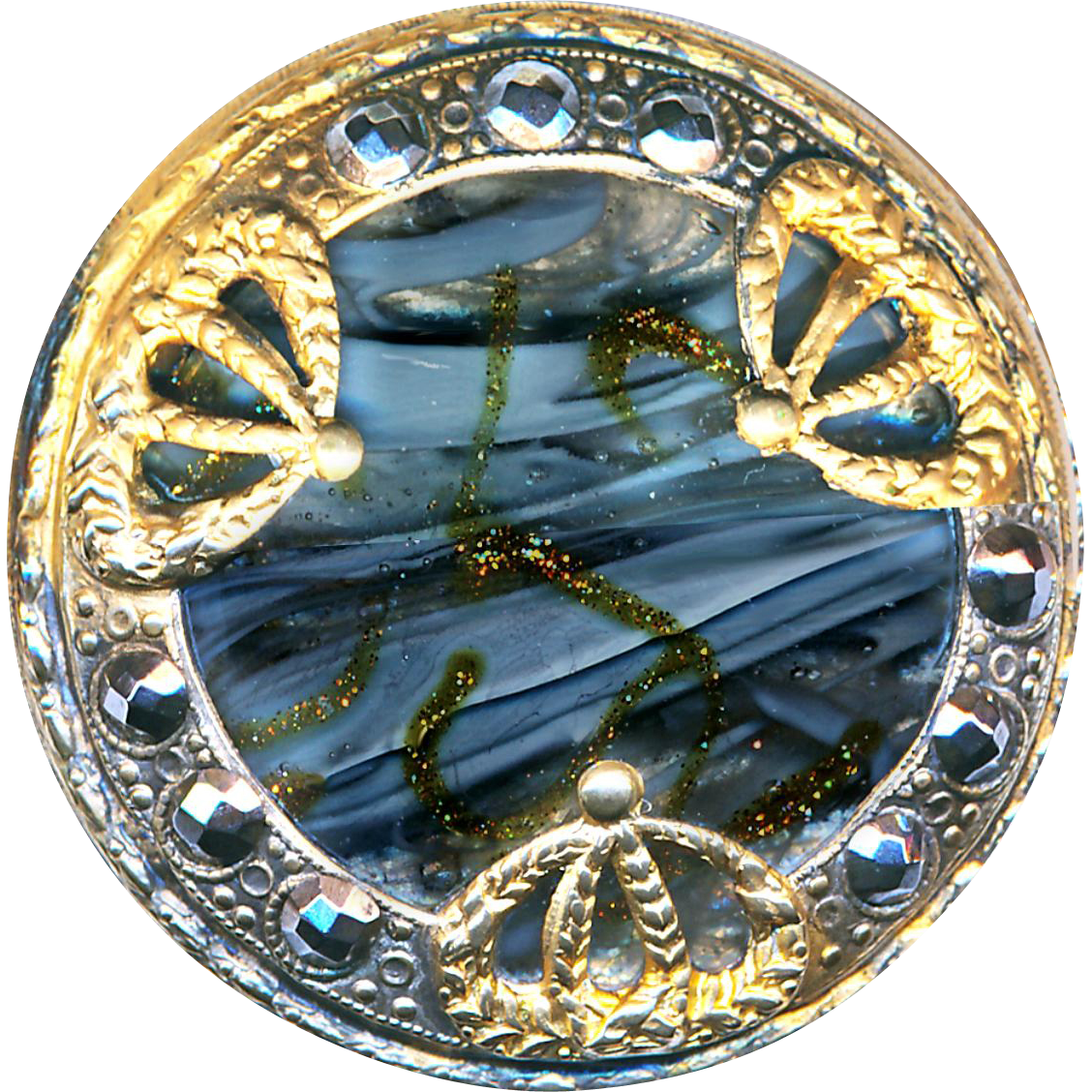 Button--Large Late 19th C. Art Glass Jewel with Aventurine Trailings in 2-tone Metal & Cut Steels