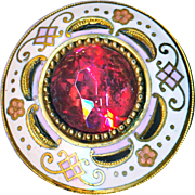 Button--Medium Large Cranberry Pink Glass Jeweled Enamel in Pink & White