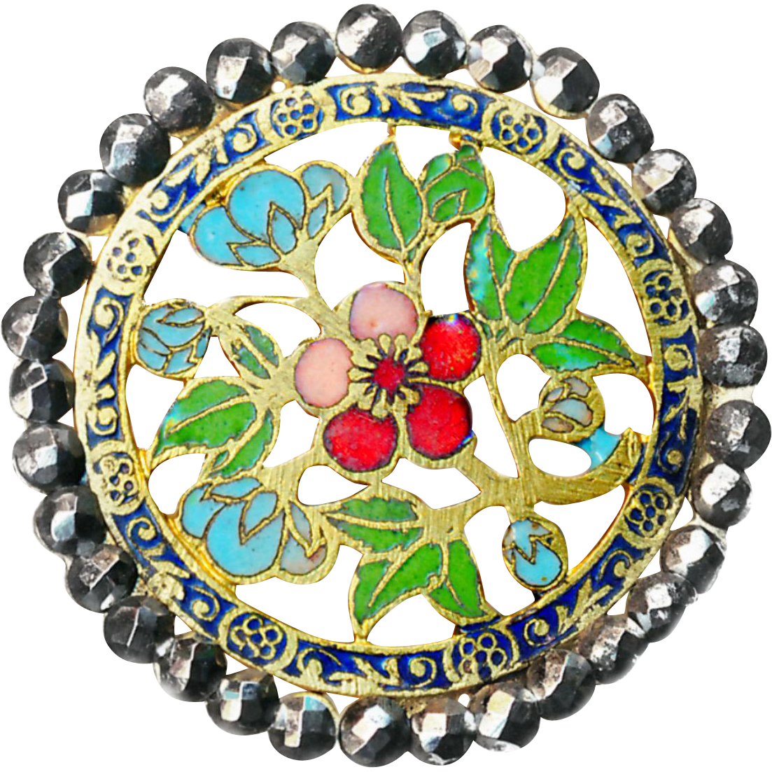 Button--Large Late 19th C. Openwork Champleve Enamel Florals in Bright Cut Steel