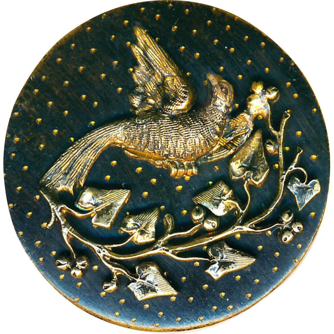 Button--Large Late 19th C. Engraved Brass Bird and Bough on Brass Tole