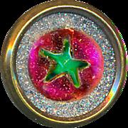 Button--Scarce Galena Paperweight-type Reverse Painted Glass Waistcoat Jewel