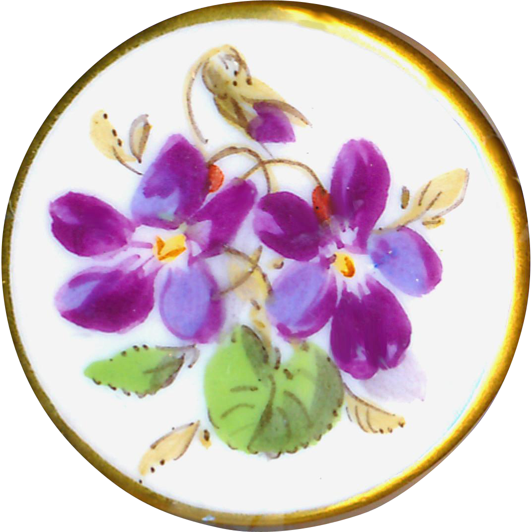 Button--Early Meissen Porcelain Violets with Distinctive Back and Crossed Swords
