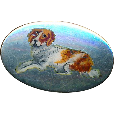 Button--Edwardian Era Hand Painted Enamel Recumbent Springer Spaniel on Sterling Silver