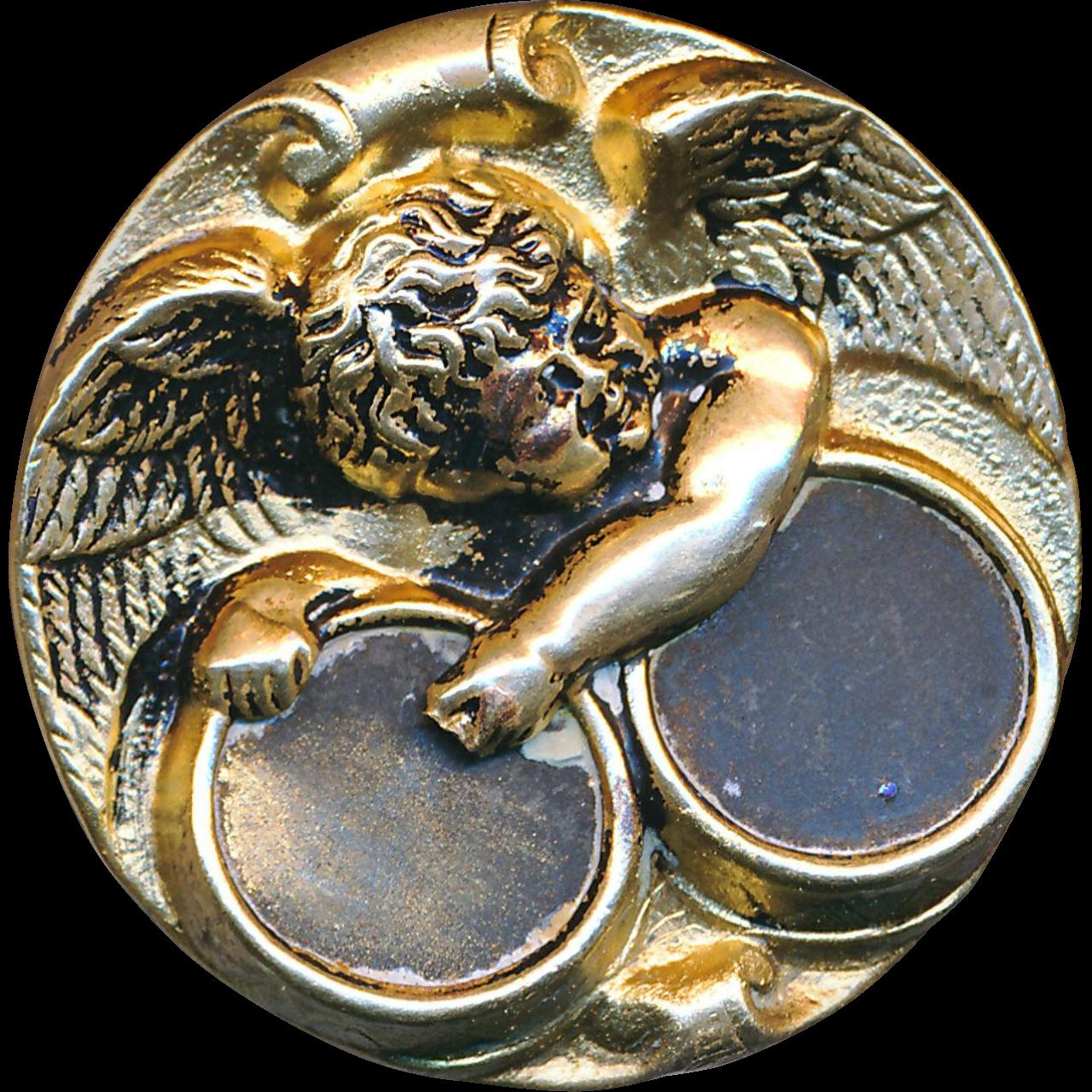 Button--Very Large 19th C. Brass Cherub Drummer--Great Old Design