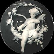 Button--Very Large Vintage Studio Black Jasperware Cupid by Babbington 1972