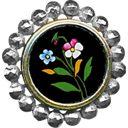 Button--19th C. Reverse Painted Glass Pink Pansy in Cut Steels Medium