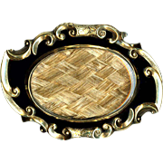 Brooch--Late Victorian Mourning Bright Golden Hair Plaited Under Glass in Black Enamel & Engraved Gold-plated Brass