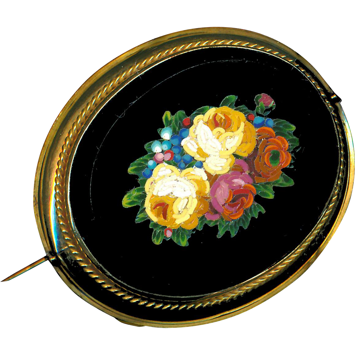 Brooch--Large Very Fine Mid-19th C. Micromosaic Micro Mosaic Yellow Roses Flip-brooch