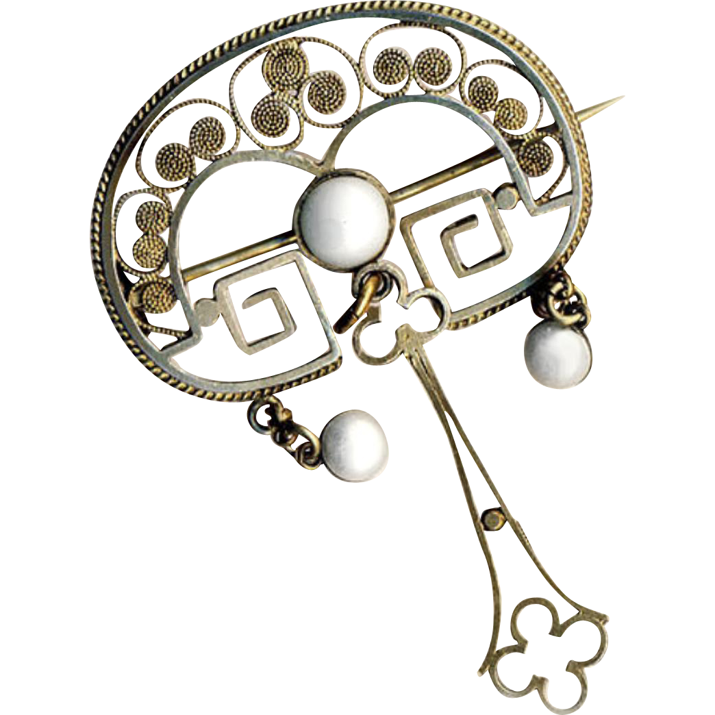 Brooch--Late 19th C. Secessionist Gilt Silver Filigree with Pearlescent Enamel Drops