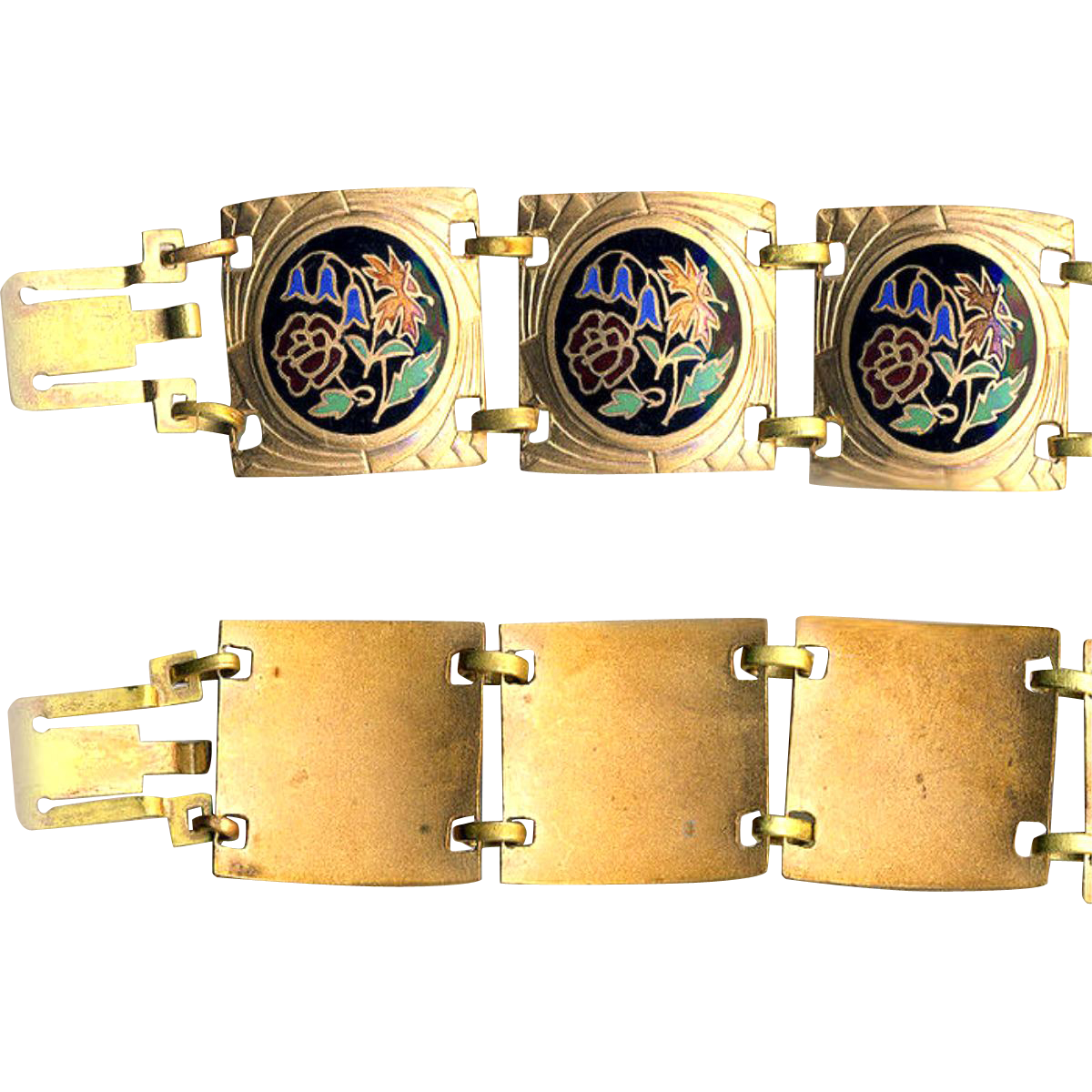 Bracelet--Large Vintage Champleve Enamel Flowers on Black in Curved Links