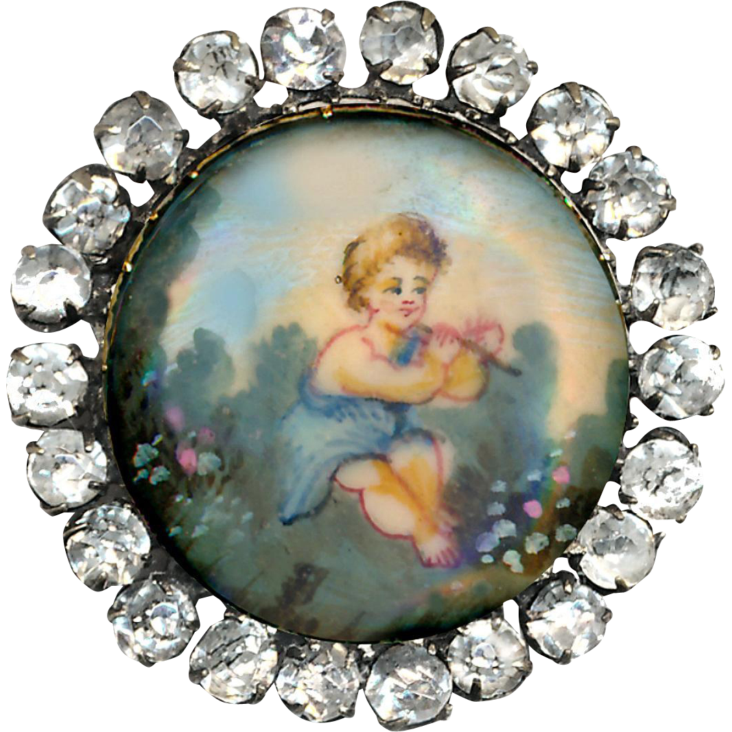 Button--19th C. Hand Painted Child Playing Flute Under Glass in Rhinestones