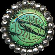 Button--Late 19th C. Neo-Egyptian Malachite Glass Jewel Brilliant Cut Steels